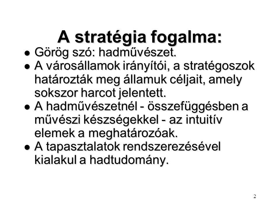 2 A stratégia fogalma: l Görög szó: hadművészet.