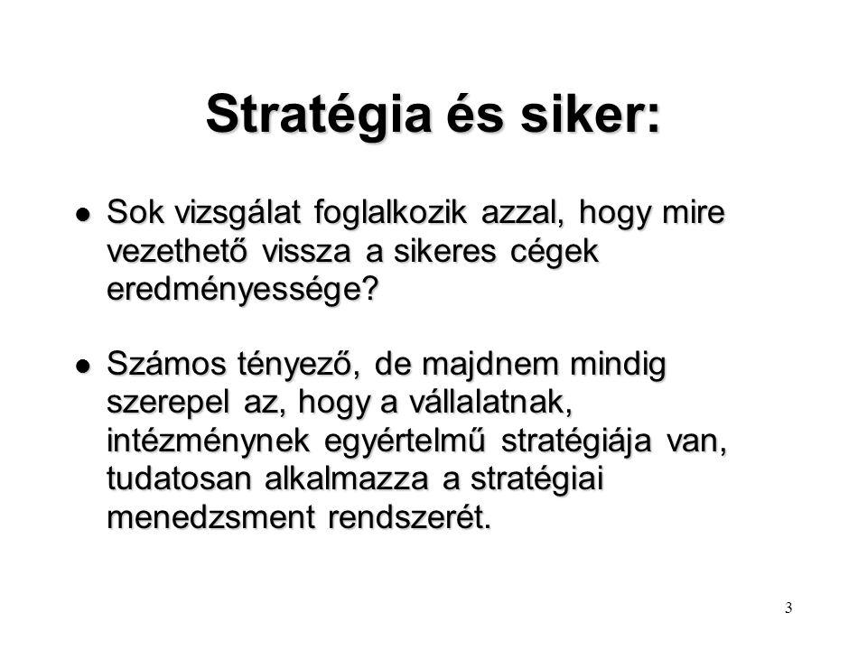 3 Stratégia és siker: l Sok vizsgálat foglalkozik azzal, hogy mire vezethető vissza a sikeres cégek eredményessége.