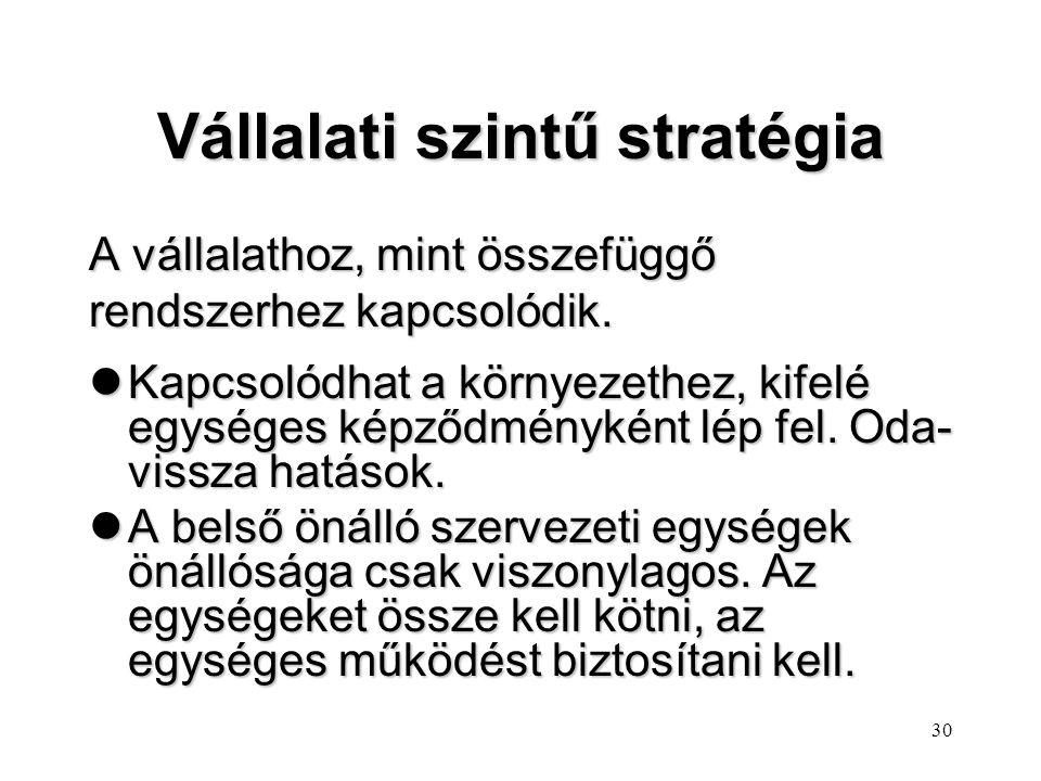 29 Stratégiai szintek lAz eltérő szintek más-más stratégiai változók ismeretét és kezelését igénylik, eltérő módszertani közelítést követelnek. lAz eg