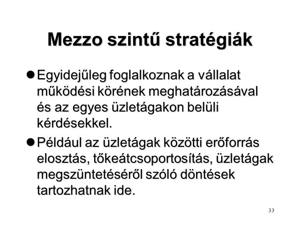 32 Üzletági szintű stratégia lEgy-egy üzletág stratégiáját egyedileg szakszerűbben, megalapozottabban lehet kialakítani, mintha az összes üzletágét kö