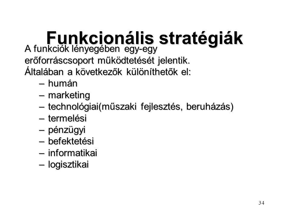 33 Mezzo szintű stratégiák lEgyidejűleg foglalkoznak a vállalat működési körének meghatározásával és az egyes üzletágakon belüli kérdésekkel. lPéldául