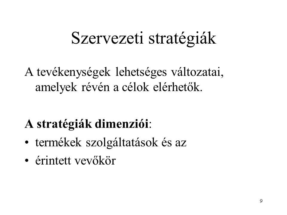 9 Szervezeti stratégiák A tevékenységek lehetséges változatai, amelyek révén a célok elérhetők.