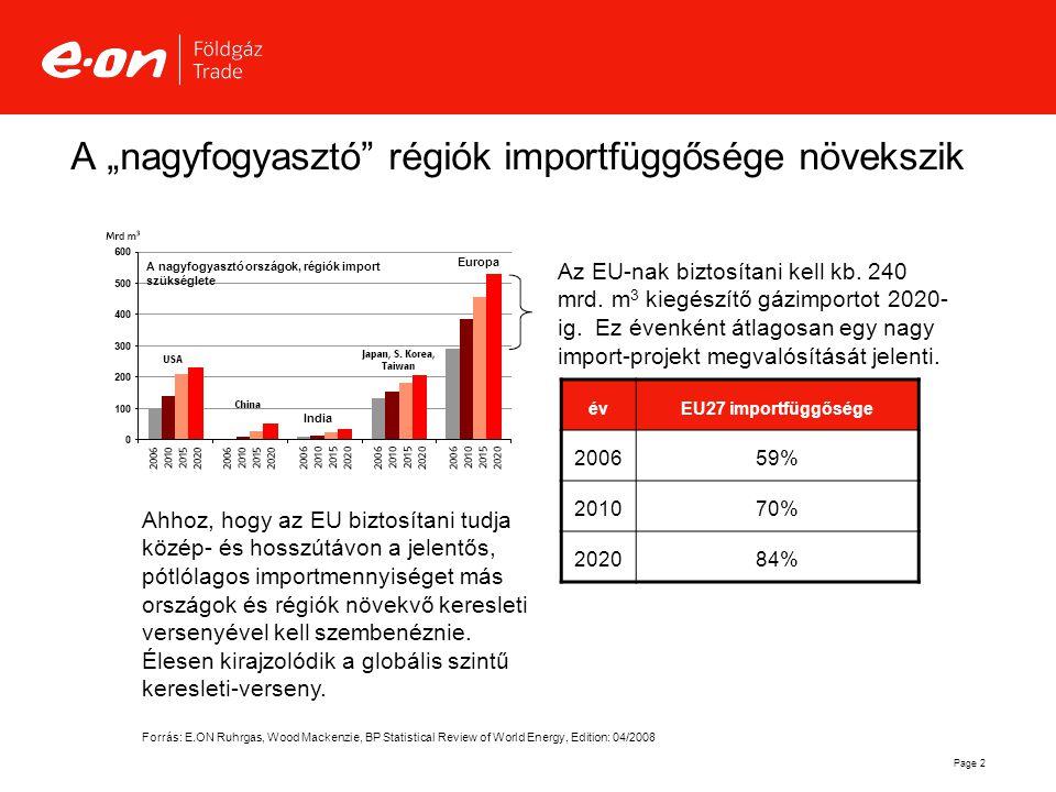 """Page 2 A """"nagyfogyasztó"""" régiók importfüggősége növekszik A nagyfogyasztó országok, régiók import szükséglete India Europa Az EU-nak biztosítani kell"""