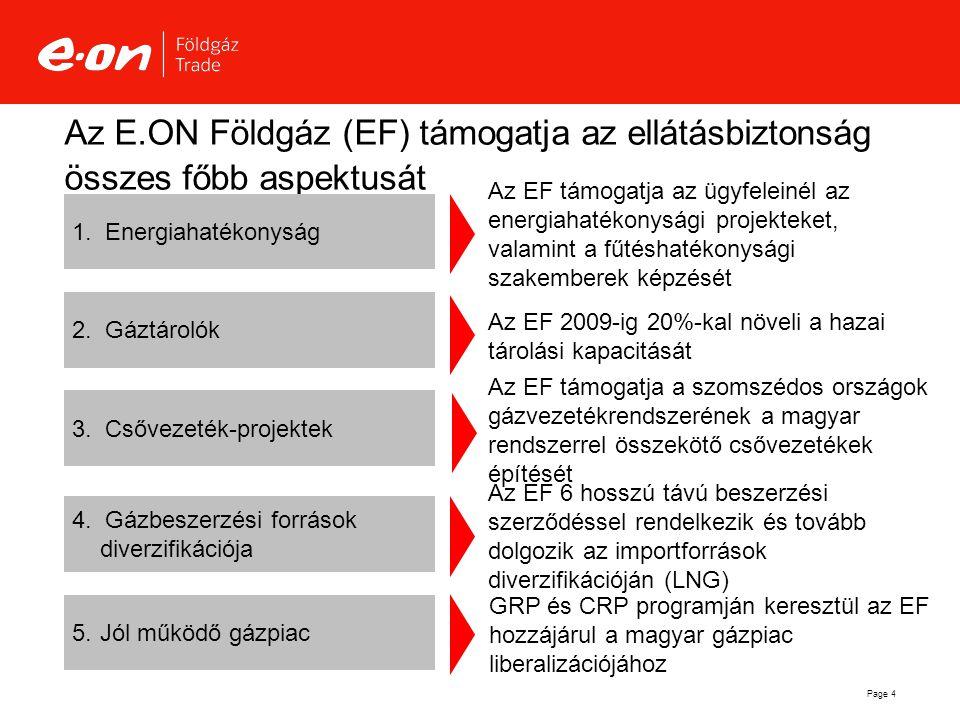 Page 4 Az E.ON Földgáz (EF) támogatja az ellátásbiztonság összes főbb aspektusát  Csővezeték-projektek Az EF 6 hosszú távú beszerzési szerződéssel r