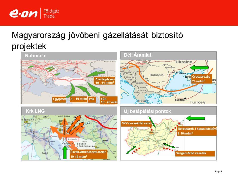 Page 8 Magyarország jövőbeni gázellátását biztosító projektek Új betáplálási pontok Krk LNG Beregdaróc i kapacitásbővítés 8-10 mdm 3 Észak-Afrika/Köze