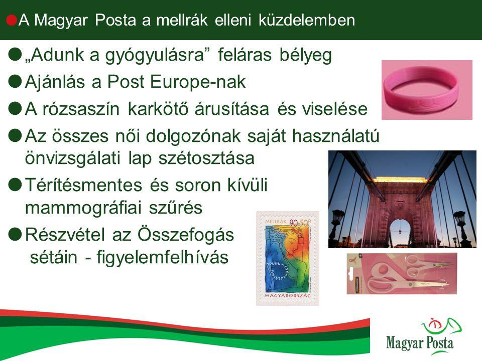 """ A Magyar Posta a mellrák elleni küzdelemben  """"Adunk a gyógyulásra"""" feláras bélyeg  Ajánlás a Post Europe-nak  A rózsaszín karkötő árusítása és vi"""