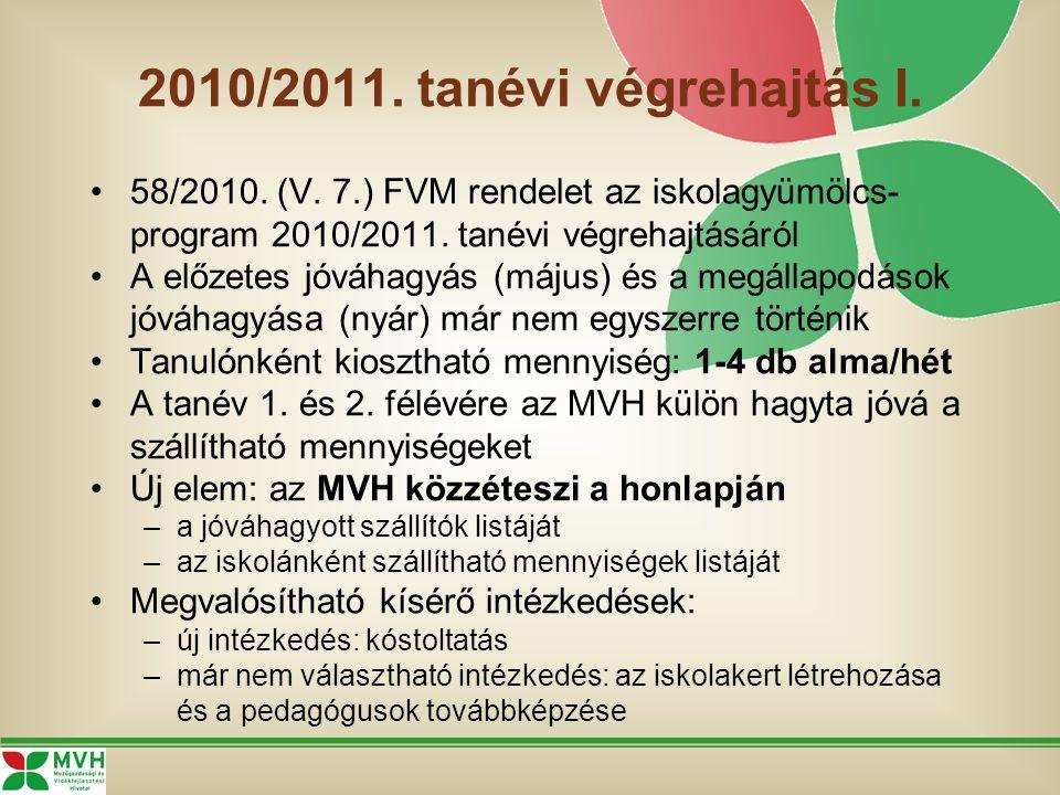2010/2011. tanévi végrehajtás I. 58/2010. (V. 7.) FVM rendelet az iskolagyümölcs- program 2010/2011. tanévi végrehajtásáról A előzetes jóváhagyás (máj