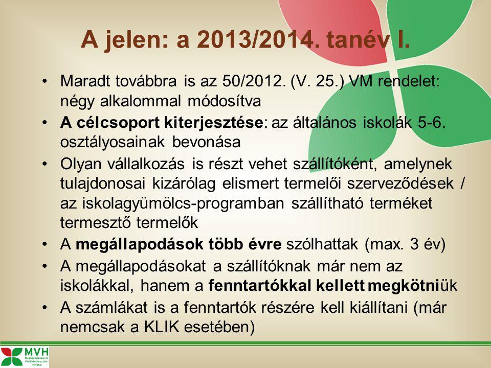 A jelen: a 2013/2014. tanév I. Maradt továbbra is az 50/2012. (V. 25.) VM rendelet: négy alkalommal módosítva A célcsoport kiterjesztése: az általános