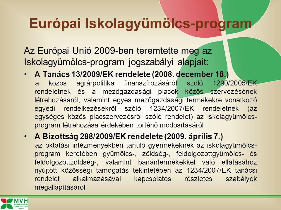 Európai Iskolagyümölcs-program Az Európai Unió 2009-ben teremtette meg az Iskolagyümölcs-program jogszabályi alapjait: A Tanács 13/2009/EK rendelete (