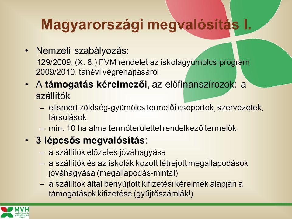 Magyarországi megvalósítás I. Nemzeti szabályozás: 129/2009. (X. 8.) FVM rendelet az iskolagyümölcs-program 2009/2010. tanévi végrehajtásáról A támoga
