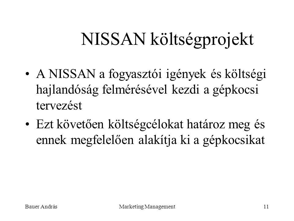 Bauer AndrásMarketing Management11 NISSAN költségprojekt A NISSAN a fogyasztói igények és költségi hajlandóság felmérésével kezdi a gépkocsi tervezést