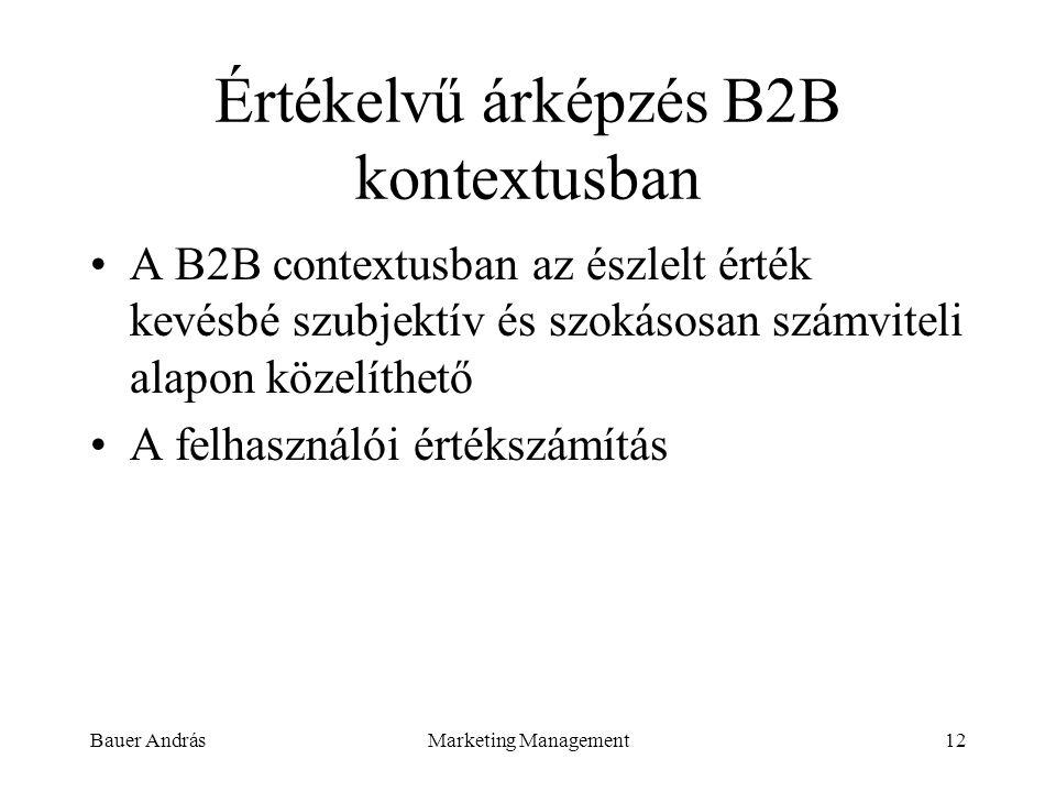 Bauer AndrásMarketing Management12 Értékelvű árképzés B2B kontextusban A B2B contextusban az észlelt érték kevésbé szubjektív és szokásosan számviteli