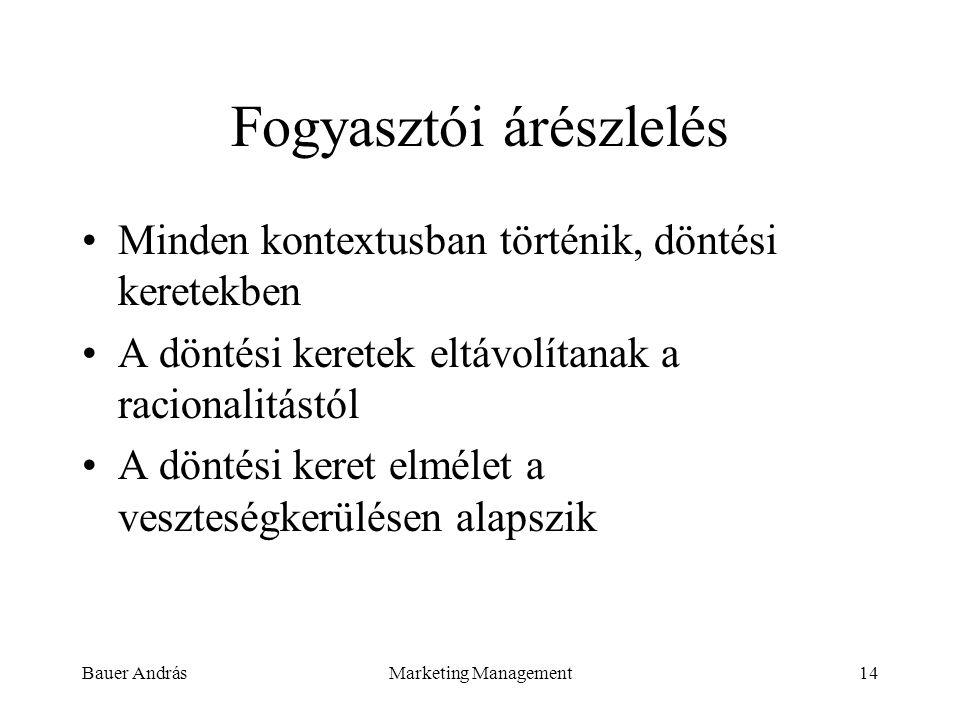 Bauer AndrásMarketing Management14 Fogyasztói árészlelés Minden kontextusban történik, döntési keretekben A döntési keretek eltávolítanak a racionalit