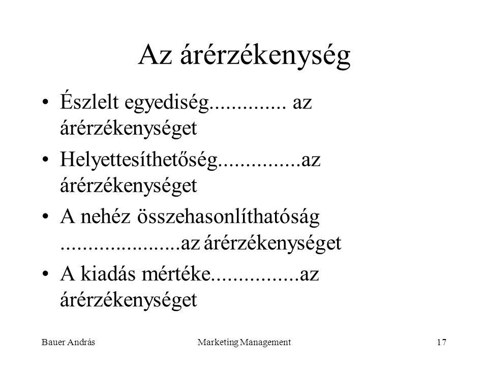 Bauer AndrásMarketing Management17 Az árérzékenység Észlelt egyediség.............. az árérzékenységet Helyettesíthetőség...............az árérzékenys