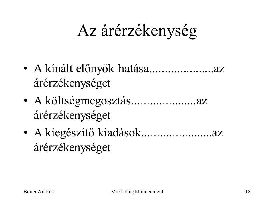 Bauer AndrásMarketing Management18 Az árérzékenység A kínált előnyök hatása.....................az árérzékenységet A költségmegosztás.................