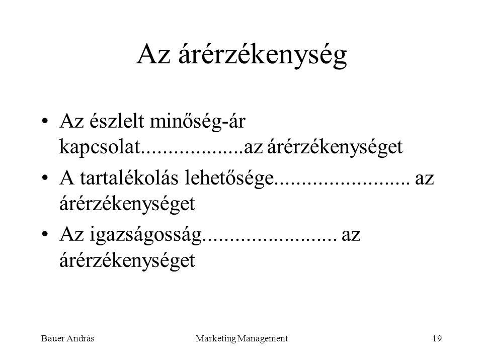 Bauer AndrásMarketing Management19 Az árérzékenység Az észlelt minőség-ár kapcsolat...................az árérzékenységet A tartalékolás lehetősége....