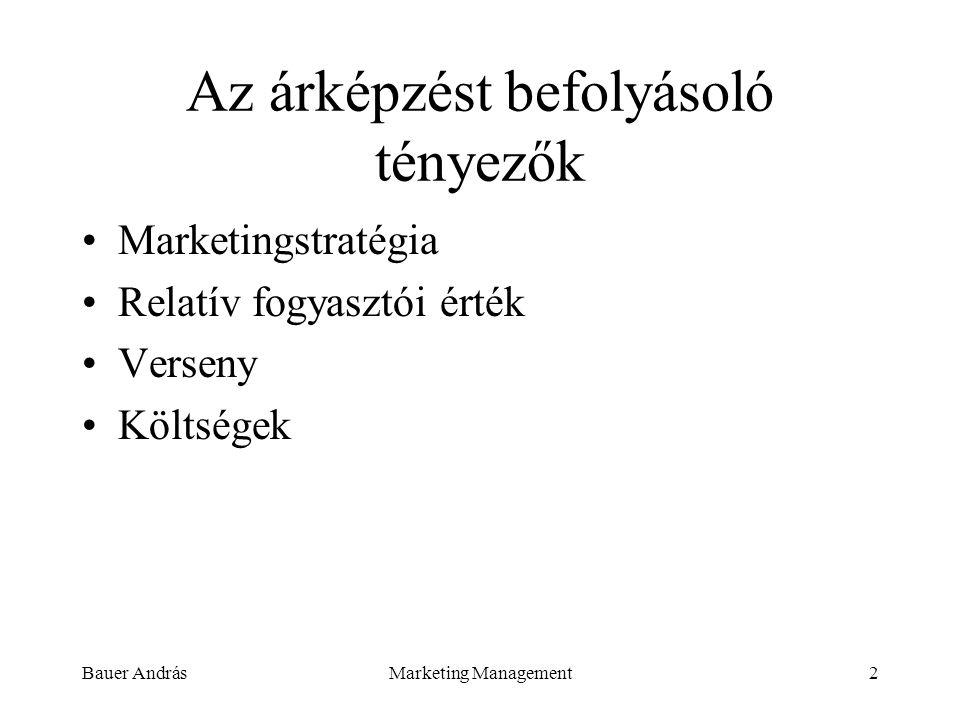 Bauer AndrásMarketing Management2 Az árképzést befolyásoló tényezők Marketingstratégia Relatív fogyasztói érték Verseny Költségek