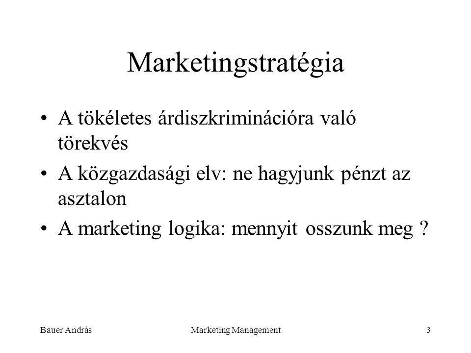 Bauer AndrásMarketing Management3 Marketingstratégia A tökéletes árdiszkriminációra való törekvés A közgazdasági elv: ne hagyjunk pénzt az asztalon A