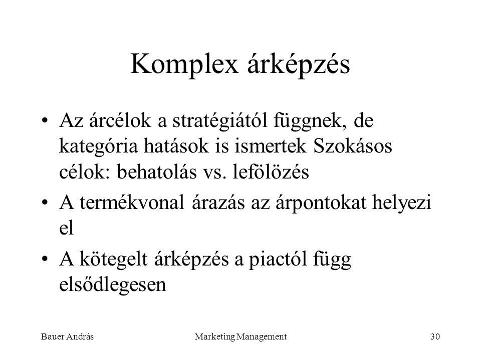 Bauer AndrásMarketing Management30 Komplex árképzés Az árcélok a stratégiától függnek, de kategória hatások is ismertek Szokásos célok: behatolás vs.