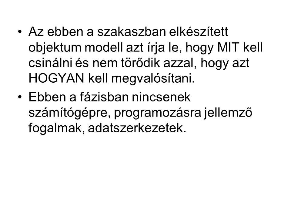 Az ebben a szakaszban elkészített objektum modell azt írja le, hogy MIT kell csinálni és nem törődik azzal, hogy azt HOGYAN kell megvalósítani. Ebben
