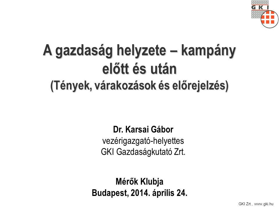 GKI Zrt., www.gki.hu A gazdaság helyzete – kampány előtt és után (Tények, várakozások és előrejelzés) Mérők Klubja Budapest, 2014.