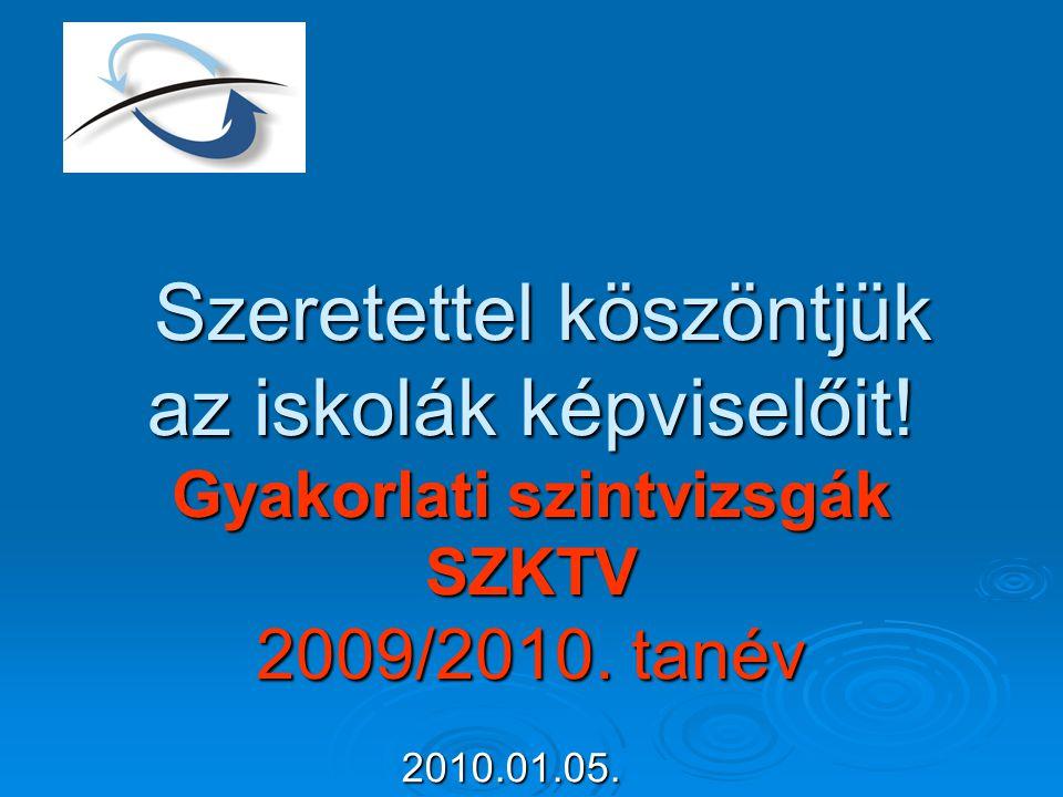 Szeretettel köszöntjük az iskolák képviselőit! Gyakorlati szintvizsgák SZKTV 2009/2010. tanév Szeretettel köszöntjük az iskolák képviselőit! Gyakorlat