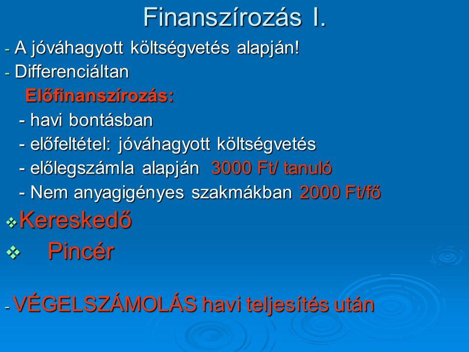 Finanszírozás I. - A jóváhagyott költségvetés alapján! - Differenciáltan Előfinanszírozás: Előfinanszírozás: - havi bontásban - előfeltétel: jóváhagyo