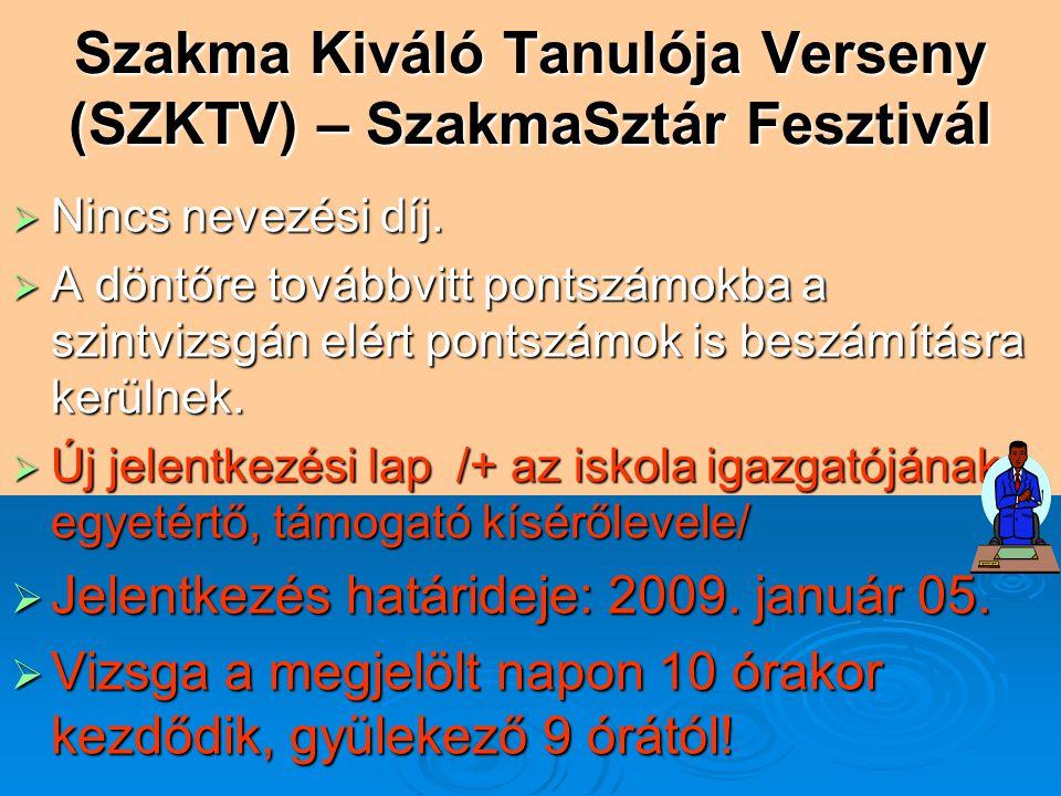 Szakma Kiváló Tanulója Verseny (SZKTV) – SzakmaSztár Fesztivál  Nincs nevezési díj.  A döntőre továbbvitt pontszámokba a szintvizsgán elért pontszám