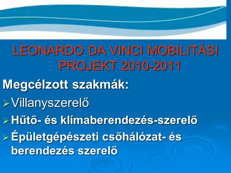 LEONARDO DA VINCI MOBILITÁSI PROJEKT 2010-2011 Megcélzott szakmák:  Villanyszerelő  Hűtő- és klímaberendezés-szerelő  Épületgépészeti csőhálózat- é