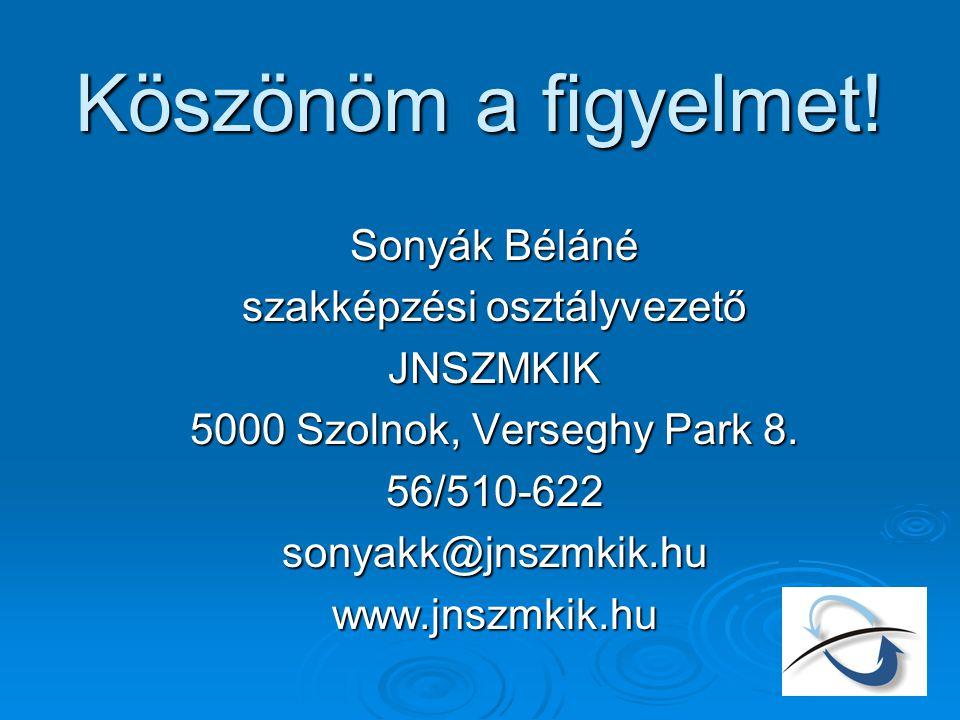 Köszönöm a figyelmet! Sonyák Béláné szakképzési osztályvezető JNSZMKIK 5000 Szolnok, Verseghy Park 8. 56/510-622sonyakk@jnszmkik.huwww.jnszmkik.hu