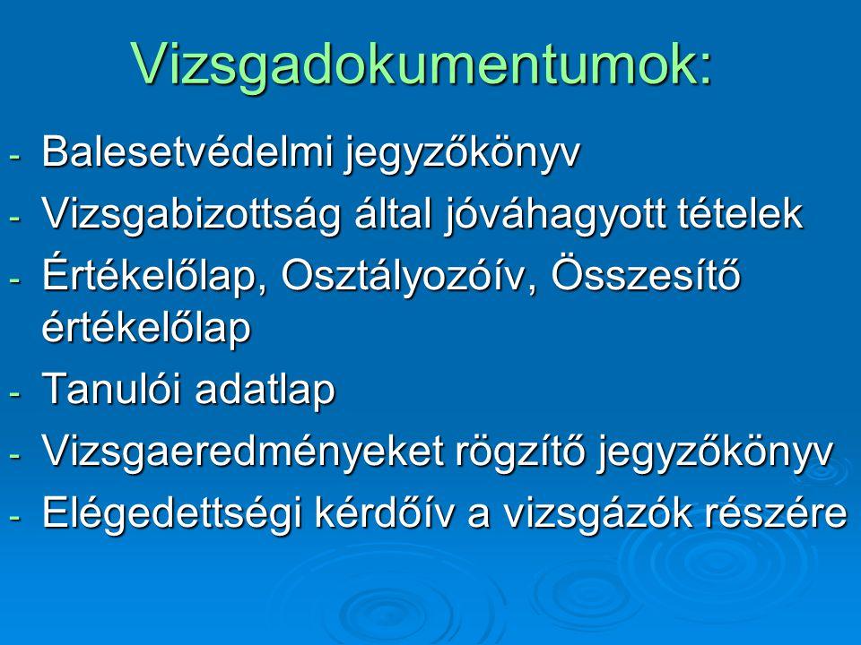 Résztvevők díjazása: Szintvizsga-bizottság 2 tagból áll:  Elnök (br.