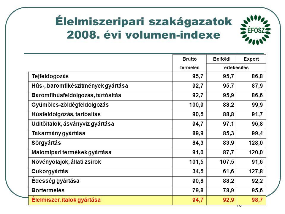 10 Élelmiszeripari szakágazatok 2008.