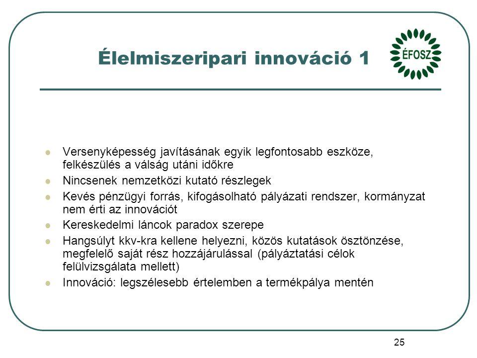 25 Élelmiszeripari innováció 1 Versenyképesség javításának egyik legfontosabb eszköze, felkészülés a válság utáni időkre Nincsenek nemzetközi kutató részlegek Kevés pénzügyi forrás, kifogásolható pályázati rendszer, kormányzat nem érti az innovációt Kereskedelmi láncok paradox szerepe Hangsúlyt kkv-kra kellene helyezni, közös kutatások ösztönzése, megfelelő saját rész hozzájárulással (pályáztatási célok felülvizsgálata mellett) Innováció: legszélesebb értelemben a termékpálya mentén