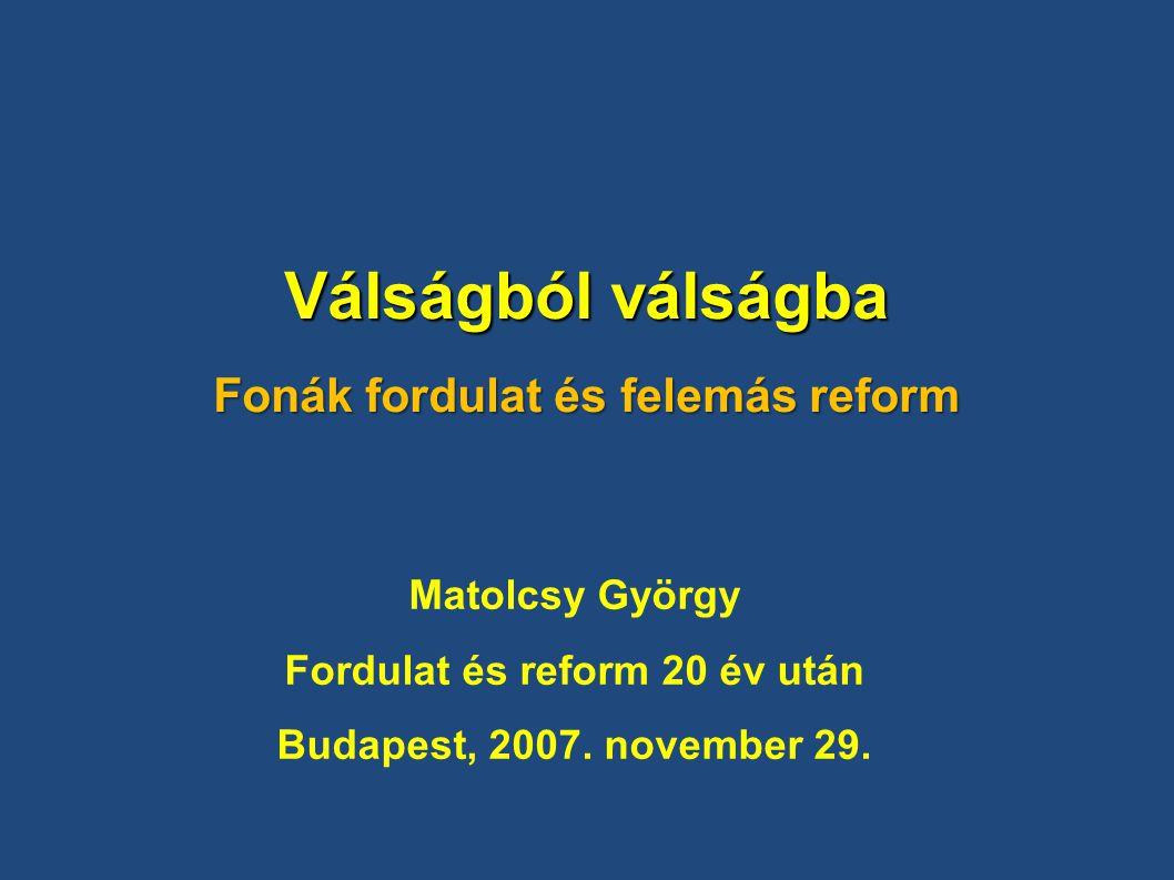 Válságból válságba Fonák fordulat és felemás reform Matolcsy György Fordulat és reform 20 év után Budapest, 2007.