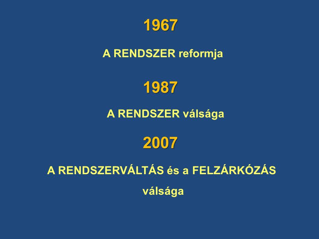 1967 A RENDSZER reformja A RENDSZER válsága A RENDSZERVÁLTÁS és a FELZÁRKÓZÁS válsága 1987 2007