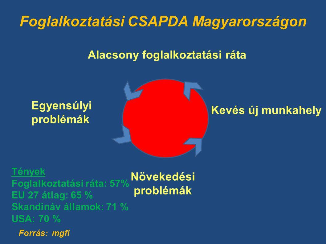 Foglalkoztatási CSAPDA Magyarországon Növekedési problémák Egyensúlyi problémák Alacsony foglalkoztatási ráta Kevés új munkahely Forrás: mgfi Tények Foglalkoztatási ráta: 57% EU 27 átlag: 65 % Skandináv államok: 71 % USA: 70 %