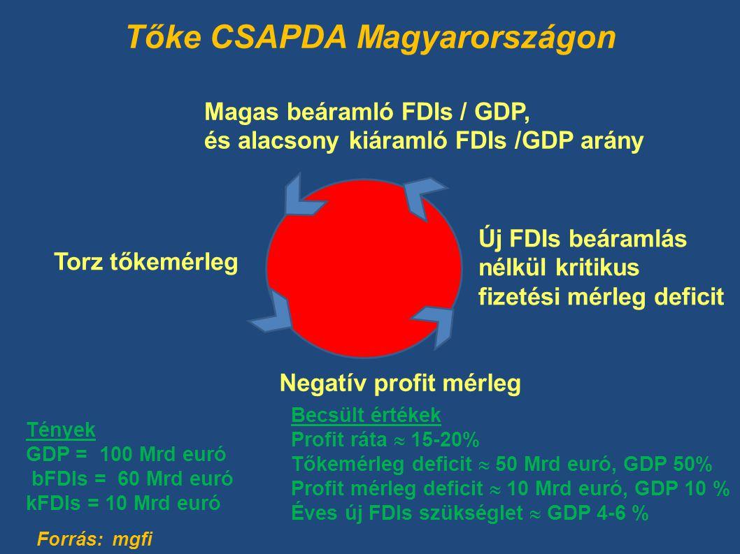 Tőke CSAPDA Magyarországon Tények GDP = 100 Mrd euró bFDIs = 60 Mrd euró kFDIs = 10 Mrd euró Becsült értékek Profit ráta  15-20% Tőkemérleg deficit  50 Mrd euró, GDP 50% Profit mérleg deficit  10 Mrd euró, GDP 10 % Éves új FDIs szükséglet  GDP 4-6 % Magas beáramló FDIs / GDP, és alacsony kiáramló FDIs /GDP arány Negatív profit mérleg Új FDIs beáramlás nélkül kritikus fizetési mérleg deficit Torz tőkemérleg Forrás: mgfi