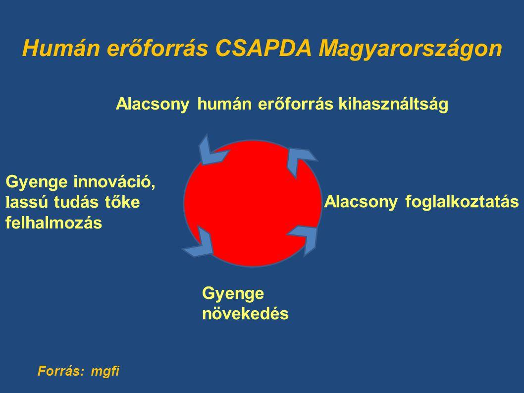 Humán erőforrás CSAPDA Magyarországon Alacsony humán erőforrás kihasználtság Gyenge innováció, l assú tudás tőke felhalmozás Gyenge növekedés Alacsony foglalkoztatás Forrás: mgfi