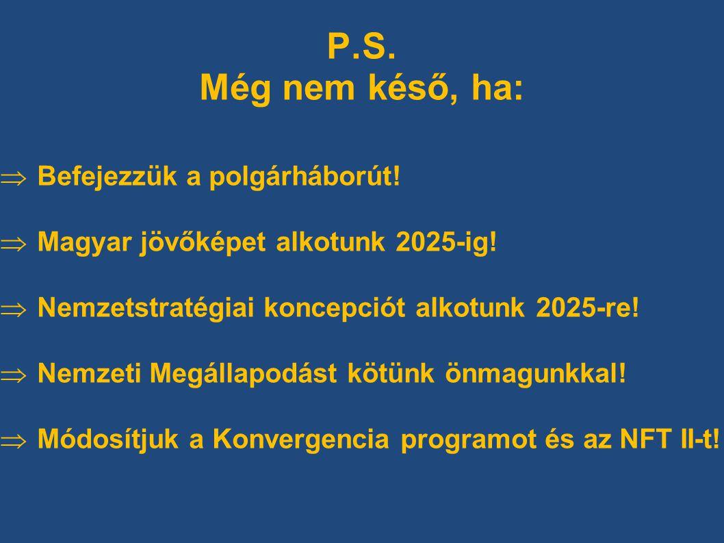 P.S. Még nem késő, ha:  Befejezzük a polgárháborút!  Magyar jövőképet alkotunk 2025-ig!  Nemzetstratégiai koncepciót alkotunk 2025-re!  Nemzeti Me