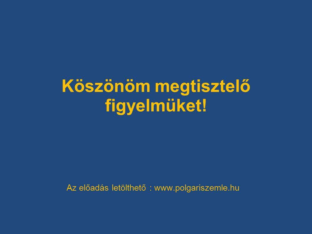 Köszönöm megtisztelő figyelmüket! Az előadás letölthető : www.polgariszemle.hu