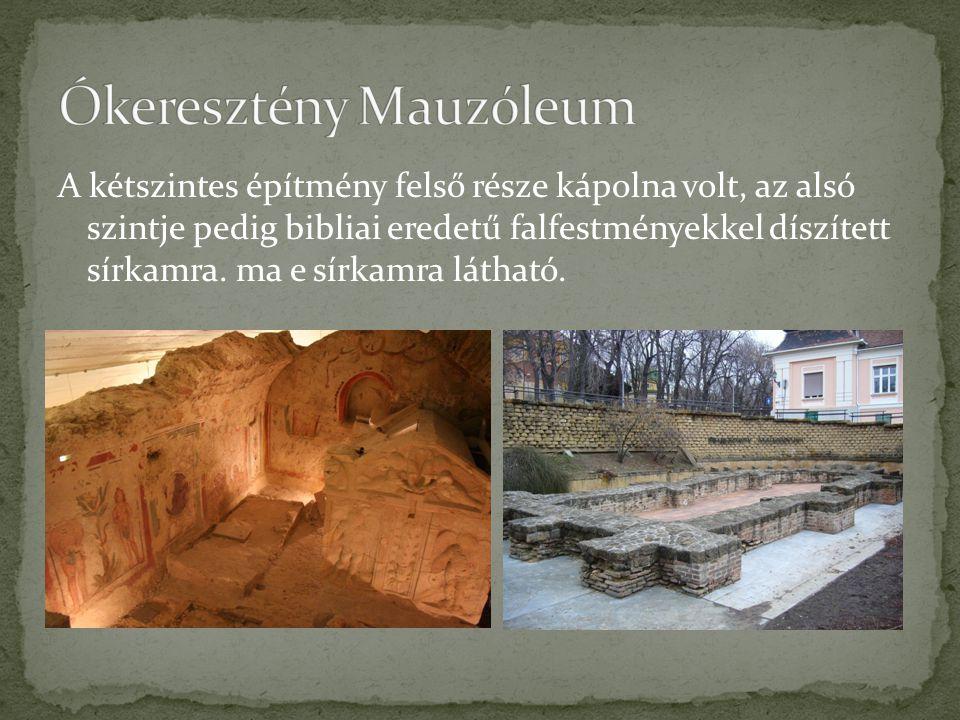 A kétszintes építmény felső része kápolna volt, az alsó szintje pedig bibliai eredetű falfestményekkel díszített sírkamra. ma e sírkamra látható.