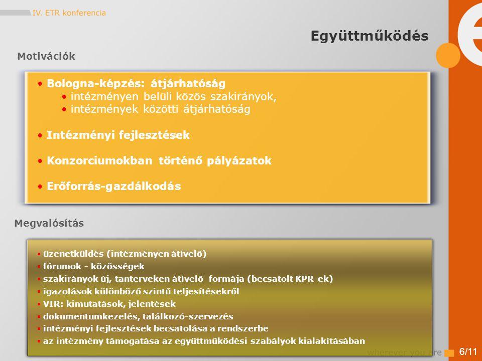 6/11  üzenetküldés (intézményen átívelő)  fórumok - közösségek  szakirányok új, tanterveken átívelő formája (becsatolt KPR-ek)  igazolások különböző szintű teljesítésekről  VIR: kimutatások, jelentések  dokumentumkezelés, találkozó-szervezés  intézményi fejlesztések becsatolása a rendszerbe  az intézmény támogatása az együttműködési szabályok kialakításában Motivációk Megvalósítás Bologna-képzés: átjárhatóság intézményen belüli közös szakirányok, intézmények közötti átjárhatóság Intézményi fejlesztések Konzorciumokban történő pályázatok Erőforrás-gazdálkodás Együttműködés