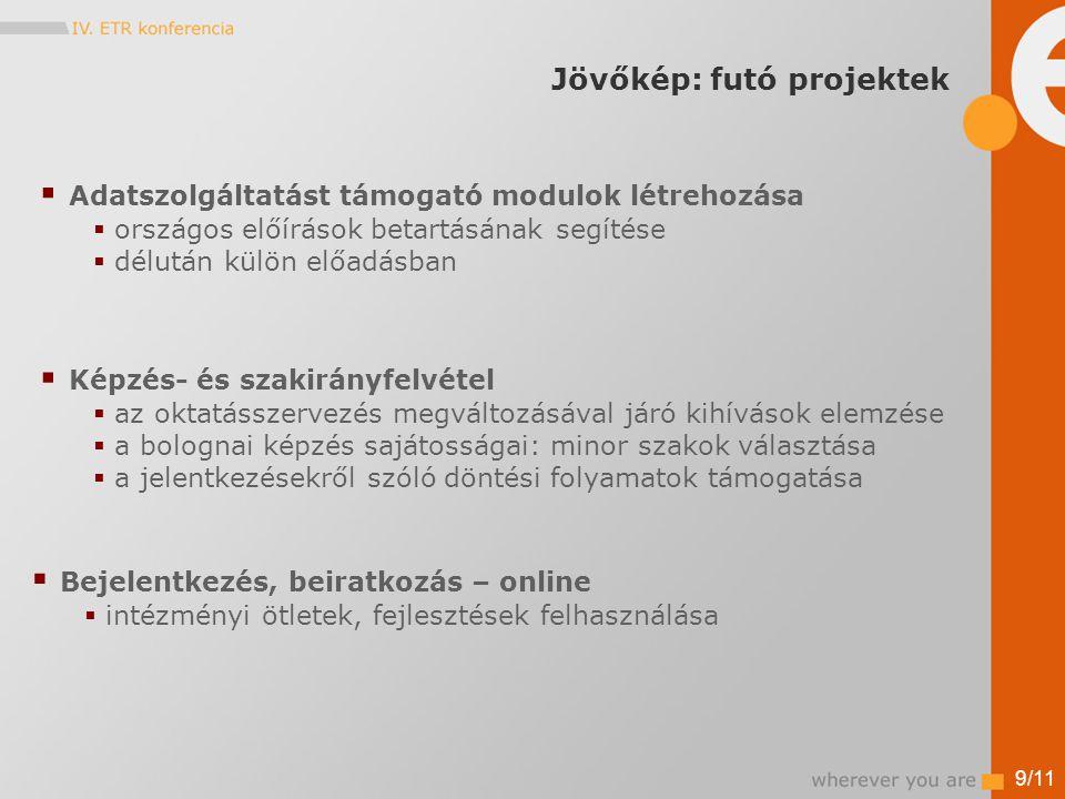 Jövőkép: futó projektek 9/11  Adatszolgáltatást támogató modulok létrehozása  országos előírások betartásának segítése  délután külön előadásban  Képzés- és szakirányfelvétel  az oktatásszervezés megváltozásával járó kihívások elemzése  a bolognai képzés sajátosságai: minor szakok választása  a jelentkezésekről szóló döntési folyamatok támogatása  Bejelentkezés, beiratkozás – online  intézményi ötletek, fejlesztések felhasználása
