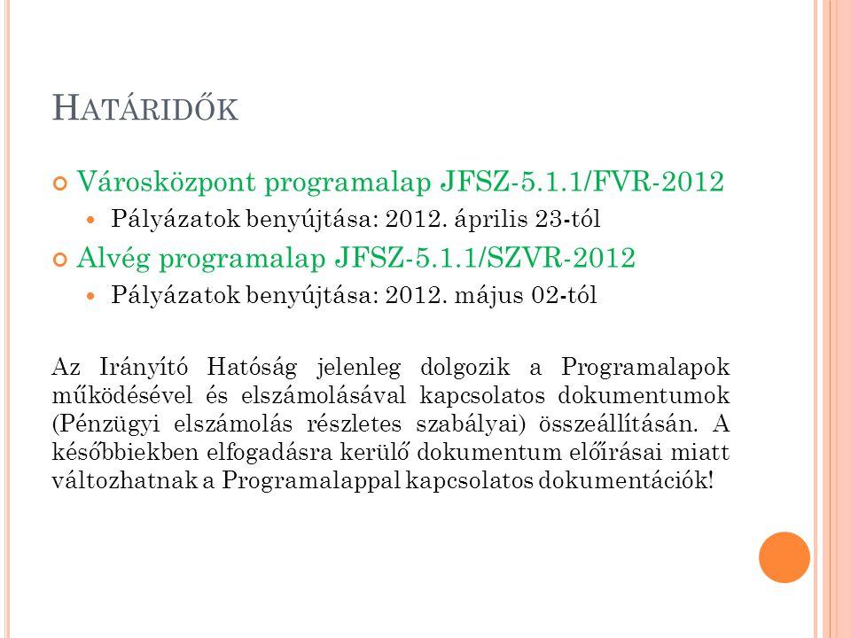 H ATÁRIDŐK Városközpont programalap JFSZ-5.1.1/FVR-2012 Pályázatok benyújtása: 2012. április 23-tól Alvég programalap JFSZ-5.1.1/SZVR-2012 Pályázatok