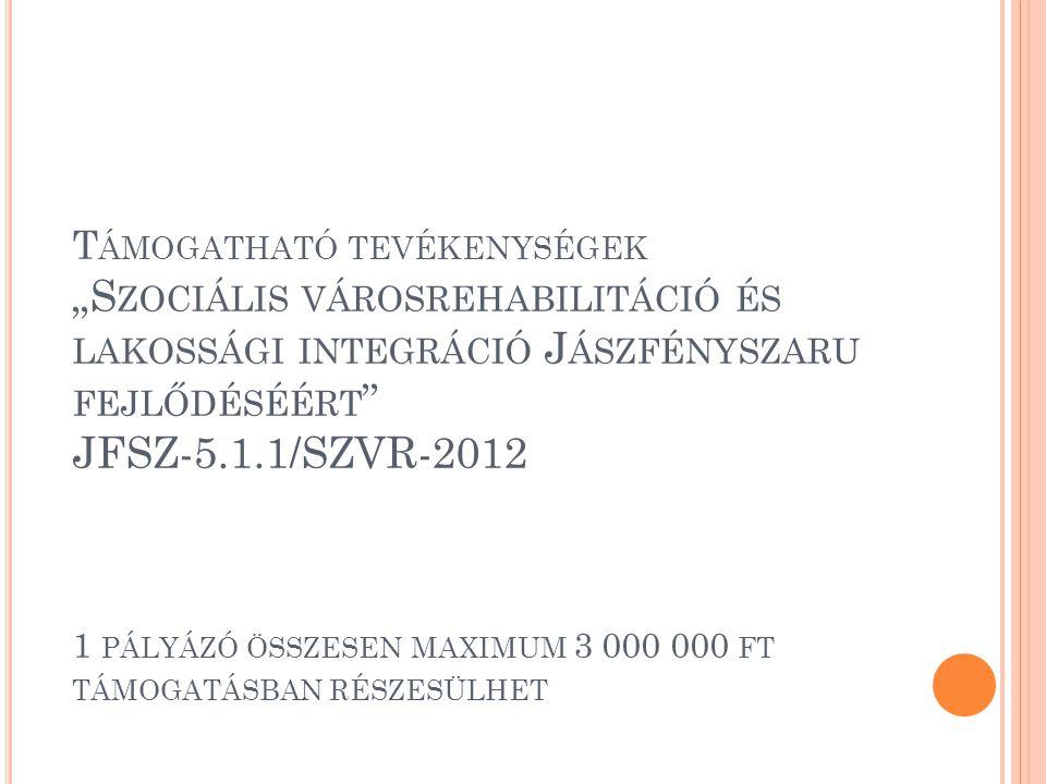 """T ÁMOGATHATÓ TEVÉKENYSÉGEK """"S ZOCIÁLIS VÁROSREHABILITÁCIÓ ÉS LAKOSSÁGI INTEGRÁCIÓ J ÁSZFÉNYSZARU FEJLŐDÉSÉÉRT """" JFSZ-5.1.1/SZVR-2012 1 PÁLYÁZÓ ÖSSZESE"""