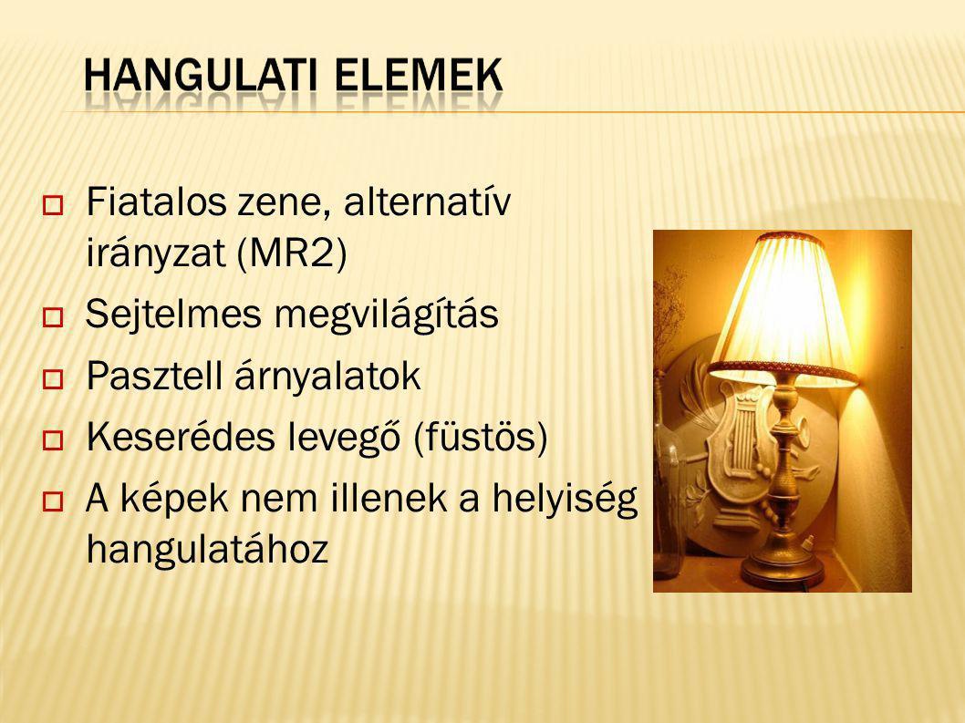  Fiatalos zene, alternatív irányzat (MR2)  Sejtelmes megvilágítás  Pasztell árnyalatok  Keserédes levegő (füstös)  A képek nem illenek a helyiség