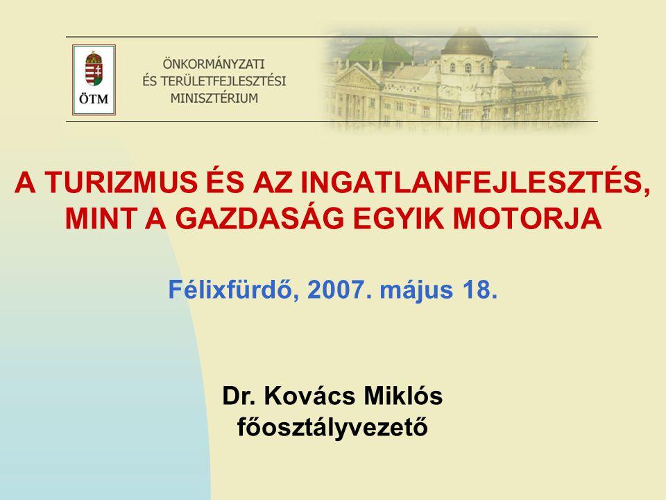 A TURIZMUS MŰKÖDÉSI KERETEI A rendszerváltás után 16 évvel a turizmus ágazat Magyarországon heterogén képet mutat: Sikeres térségek és termékek mellett kihasználatlan adottságok Nagyvállalatok és kkv-k eltérő esélyei Gyorsan változó piaci körülmények, kiéleződött verseny Átfogó ágazati kerettörvény hiánya 2004-től európai uniós források – új fejlesztési lehetőségek 2005-ben elfogadásra került a Nemzeti turizmusfejlesztési stratégia A turizmus irányítás helye folyamatosan változott
