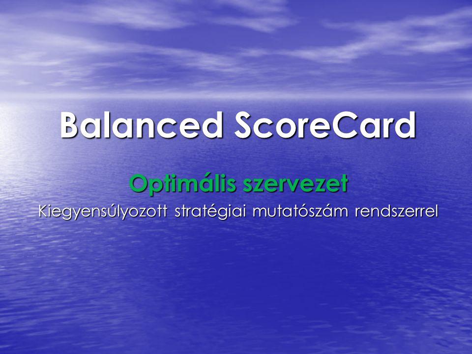 Balanced ScoreCard Optimális szervezet Kiegyensúlyozott stratégiai mutatószám rendszerrel