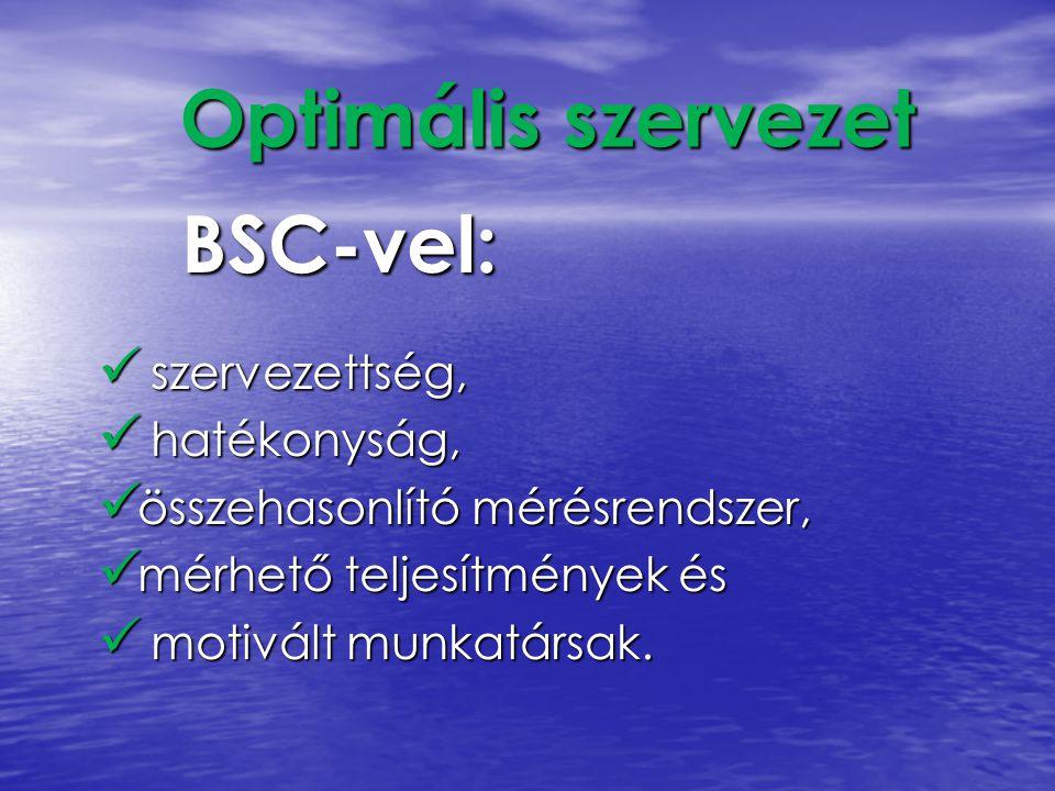 BSC-vel: szervezettség, szervezettség, hatékonyság, hatékonyság, összehasonlító mérésrendszer, összehasonlító mérésrendszer, mérhető teljesítmények és