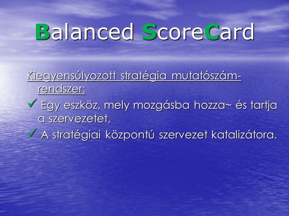 Balanced ScoreCard Kiegyensúlyozott stratégia mutatószám- rendszer: Egy eszköz, mely mozgásba hozza~ és tartja a szervezetet, Egy eszköz, mely mozgásb